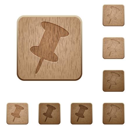 variations set: Set of carved wooden pin buttons in 8 variations. Illustration