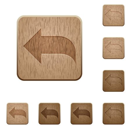 reply: Set of carved wooden reply buttons in 8 variations. Illustration