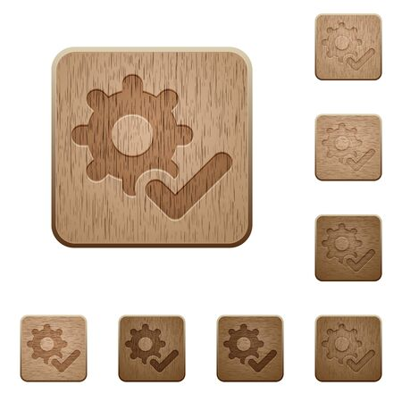 variations: Set of carved wooden Settings ok buttons in 8 variations. Illustration
