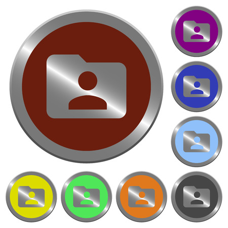 owner: Set of color glossy coin-like folder owner buttons. Illustration