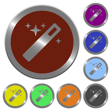 Set of color glossy coin-like magic wand buttons.