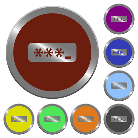 claret: Set of color glossy coin-like password typing buttons.