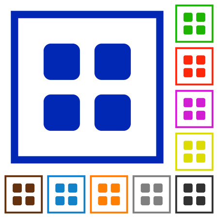 viewpoints: Set of color square framed Large grid view flat icons on white background Illustration