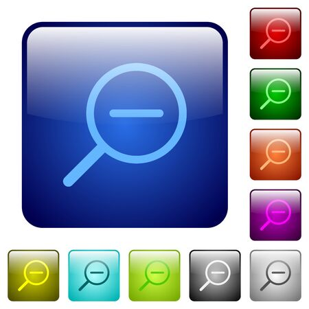 zoom out: Set of zoom out color glass rounded square buttons