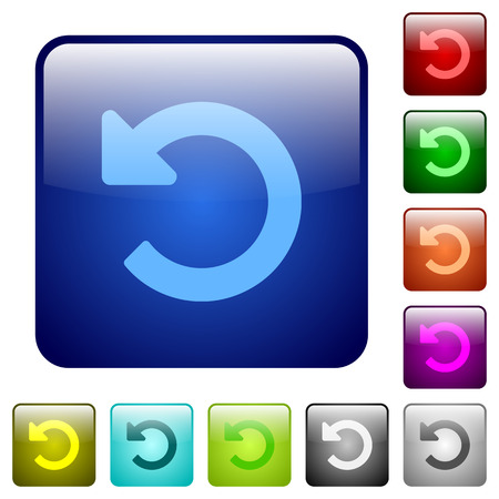 undo: Set of undo changes color glass rounded square buttons