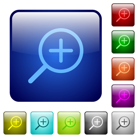 zoom in: Set of zoom in color glass rounded square buttons