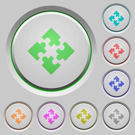 Set of color modules sunk push buttons. Illustration