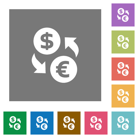 foreign exchange rates: Dollar Euro exchange flat icon set on color square background.