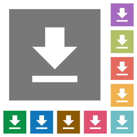 acquire: Download flat icon set on color square background.