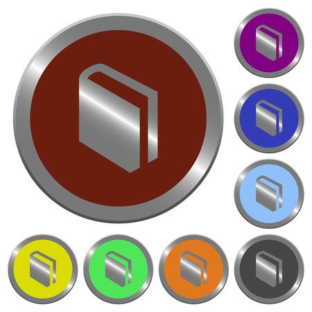 lexicon: Set of color glossy coin-like book buttons.