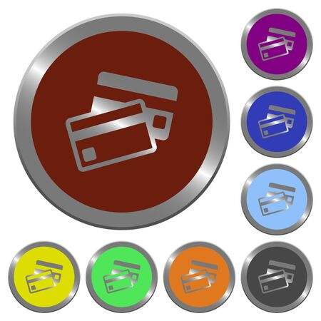 coinlike: Set of color glossy coin-like credit card buttons. Illustration