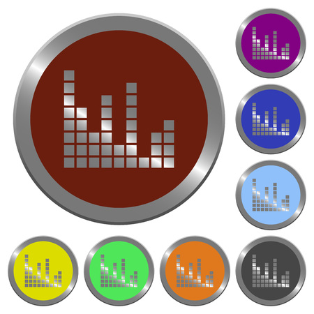 coinlike: Set of color glossy coin-like sound bars buttons.