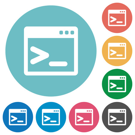 command: Flat command prompt icon set on round color background. Illustration