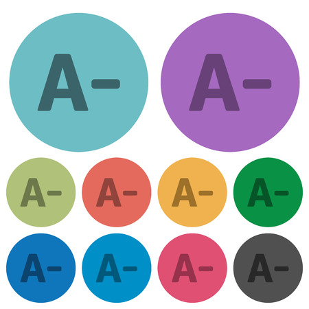 size: Color decrease font size flat icon set on round background.