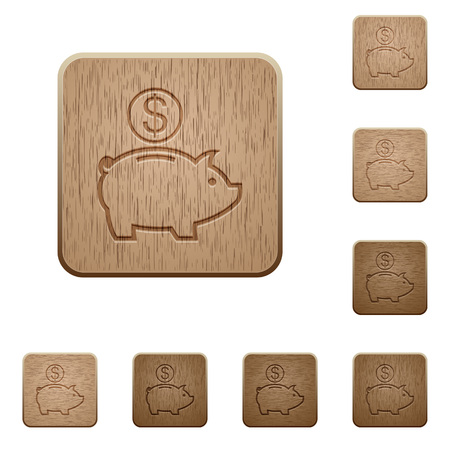 carved: Set of carved wooden Dollar piggy bank buttons in 8 variations.