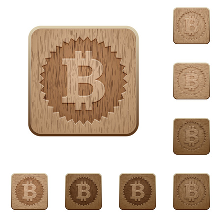 e money: Set of carved wooden Bitcoin sticker buttons in 8 variations. Illustration