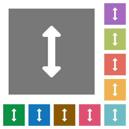 resize: Resize vertical flat icon set on color square background. Illustration