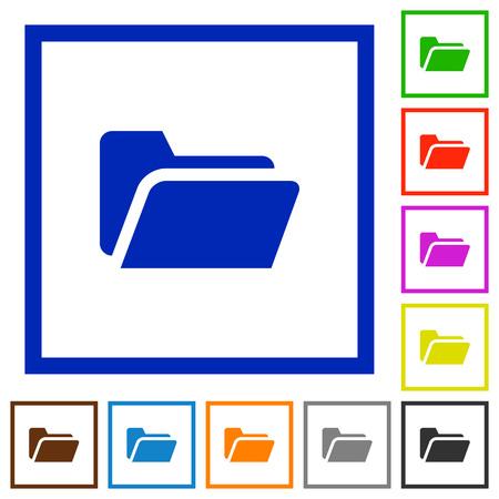 execute: Set of color square framed Folder open flat icons on white background Illustration