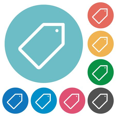 keywording: Flat tag icon set on round color background. Illustration