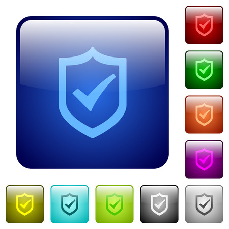 active: Set of active shield color glass rounded square buttons