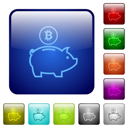 e money: Set of bitcoin piggy bank color glass rounded square buttons