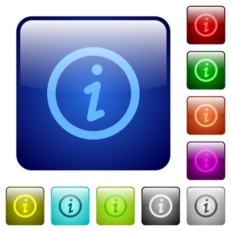 rounded: Set of information color glass rounded square buttons Illustration