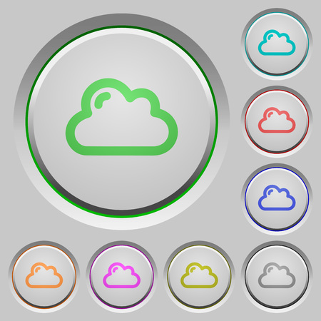 sunk: Set of color cloud sunk push buttons.