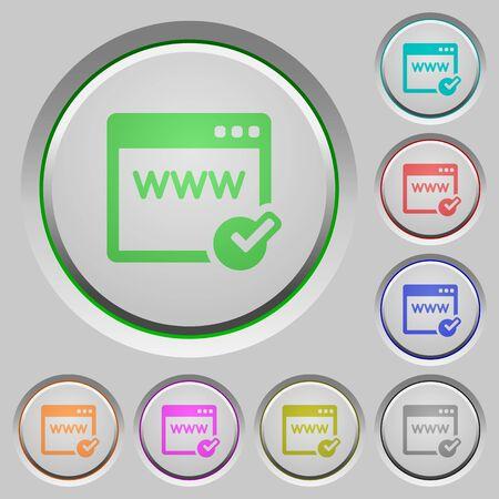 Set of color Domain registration sunk push buttons.