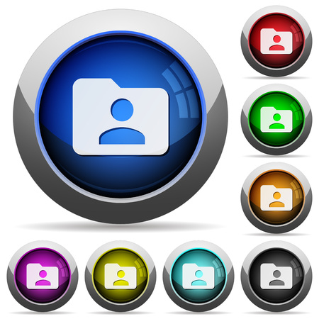permissions: Set of round glossy Folder owner buttons. Arranged layer structure. Illustration