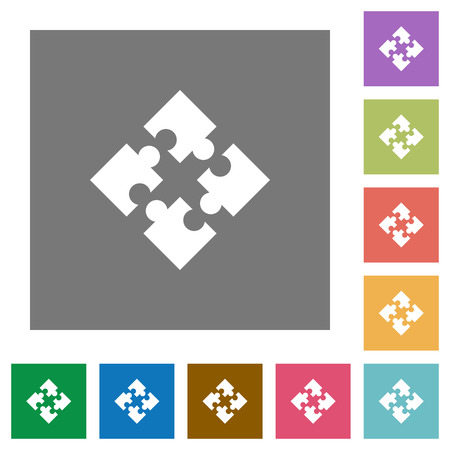 Modules flat icon set on color square background. Illustration