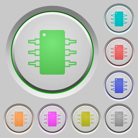 integrated circuit: Set of color Integrated circuit sunk push buttons. Illustration