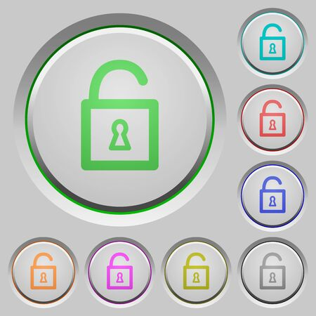 decrypt: Set of color Unlocked padlock sunk push buttons.