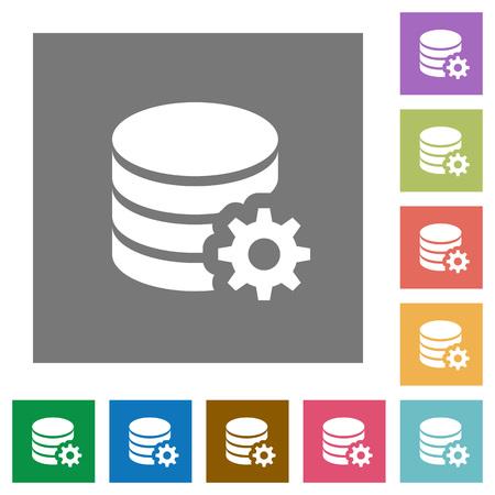 sql: Database configuration flat icon set on color square background.