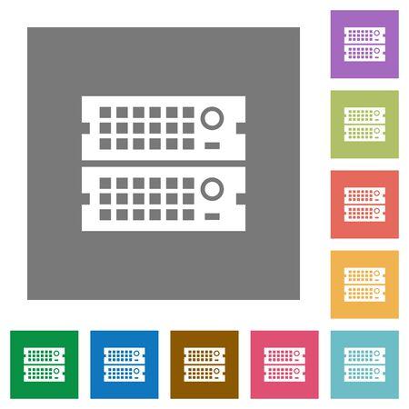 webserver: Rack servers flat icon set on color square background.