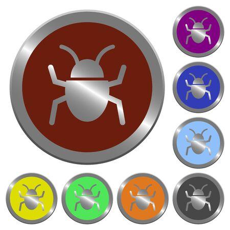 debugging: Set of color glossy coin-like bug buttons. Illustration