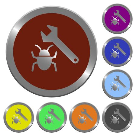 debugging: Set of color glossy coin-like bug fixing buttons.