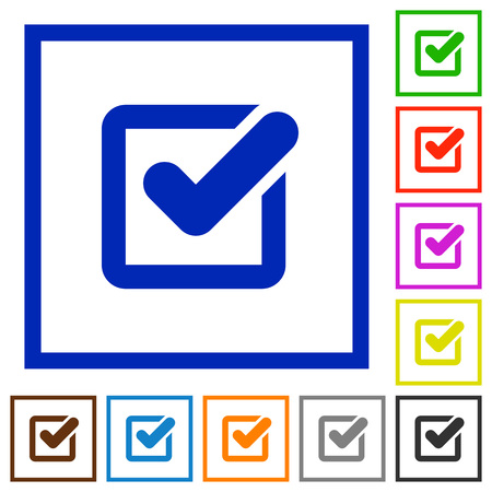 blue button: Set of color square framed checkbox flat icons on white background Illustration