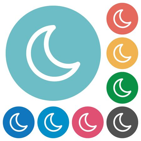 standby: Flat moon icon set on round color background.