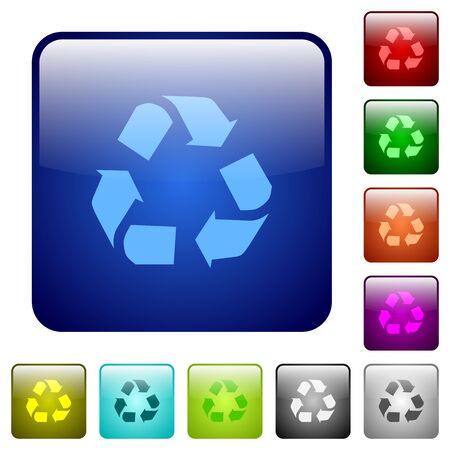 conservationist: Set of recycling color glass rounded square buttons Illustration