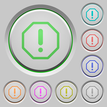 sunk: Set of color error sunk push buttons.