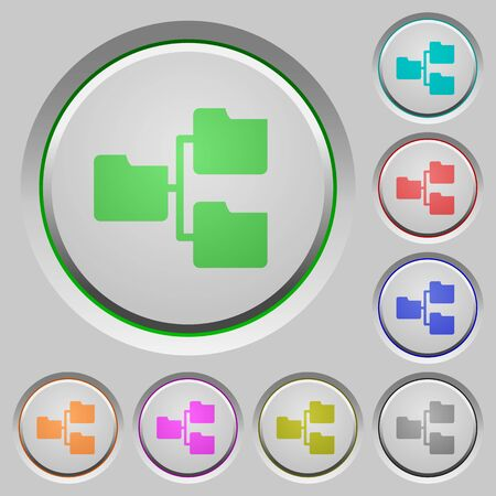 shared sharing: Set of color Shared folders sunk push buttons. Illustration