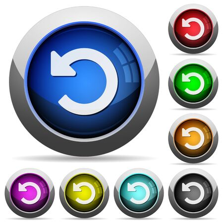 undo: Set of round glossy Undo changes buttons. Arranged layer structure. Illustration