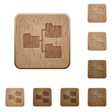 tree linked: Set of carved wooden Shared folders buttons in 8 variations.