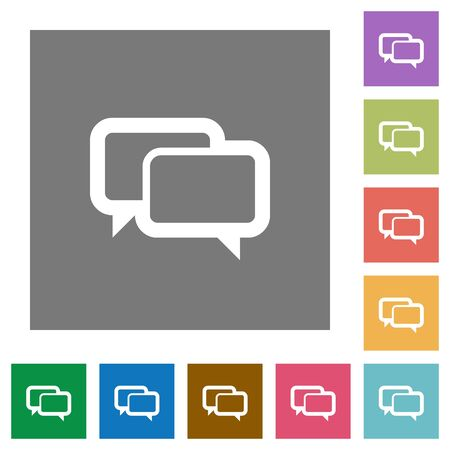 chat bubbles: Chat bubbles flat icon set on color square background.