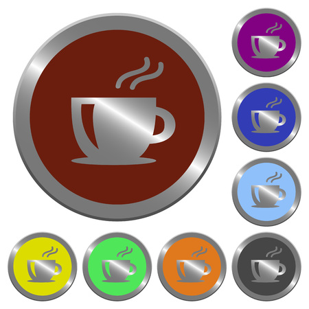 claret: Set of color glossy coin-like cappuccino buttons.