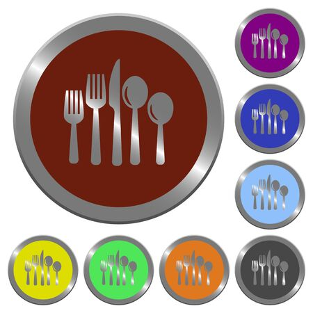 claret: Set of color glossy coin-like cutlery buttons.
