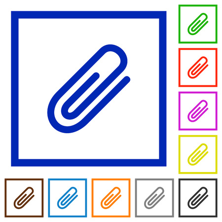 attachment: Set of color square framed attachment flat icons on white background Illustration