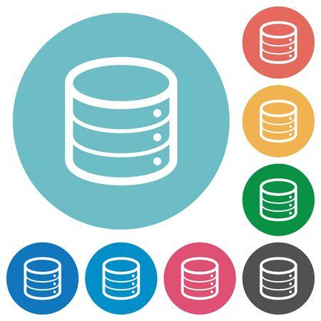 mysql: Flat database icon set on round color background. Illustration