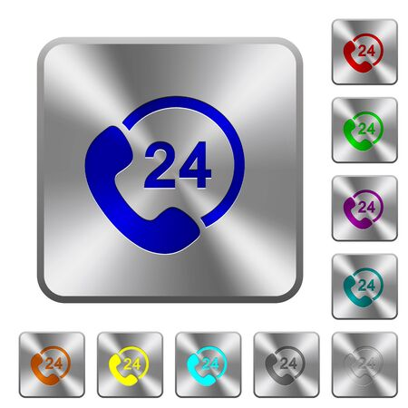 availability: Engraved 24 hour service icons on rounded square steel buttons
