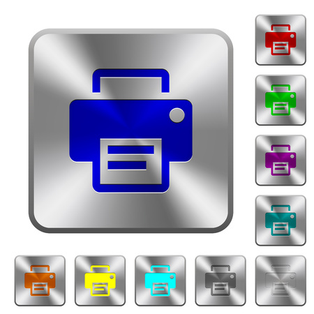 printing proof: Engraved printer icons on rounded square steel buttons Illustration